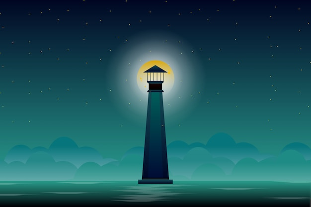 Faro con la luna piena e il cielo notturno