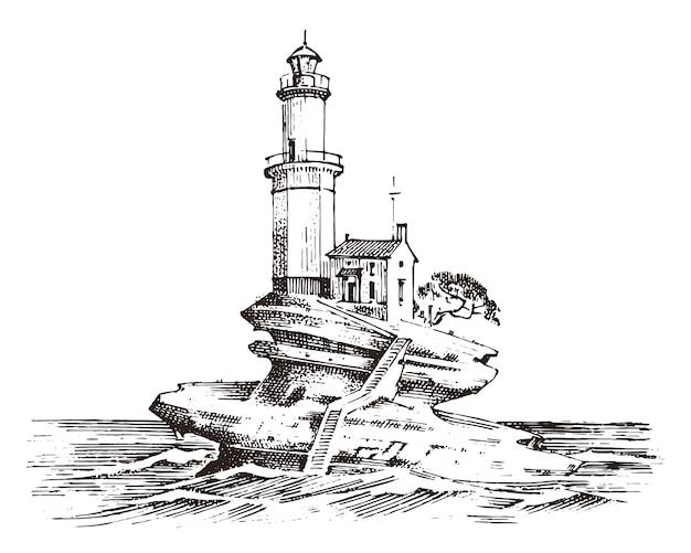 Faro e mare schizzo marino, viaggio nautico e paesaggio marino. illuminazione nell'oceano. onda di marea atlantica incisa a mano, disegnata a mano. navigazione per navi e yacht.