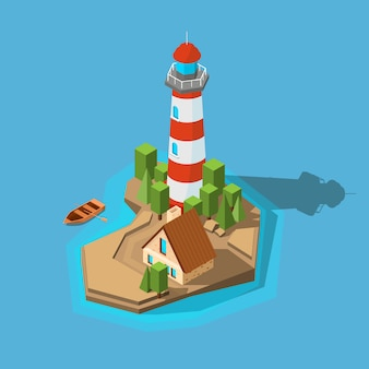 Faro isometrico. isola della spiaggia della barca dell'oceano del mare piccola con il faro di navigazione e l'immagine della costruzione