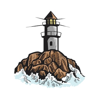 Faro, mercusuar disegno icona logo