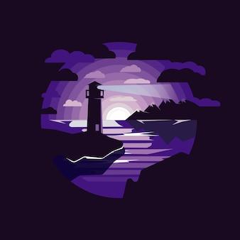 Faro nell'illustrazione del mare di notte. faro sul mare con montagne, cielo notturno.
