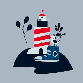 Faro sveglio dell'oceano del mare e del gabbiano in marinaio. carta di viaggio avventura