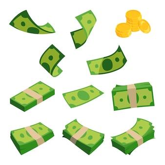 Fasci di dollari isolati. set di banconote diverse