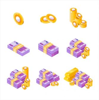 Fasci di euro isometrici sparsi, accatastati con lati diversi isolati su sfondo bianco. euro e centesimi. pila di soldi dell'oro del segno dei soldi dei centesimi di euro, isometrica. soldi piatti.