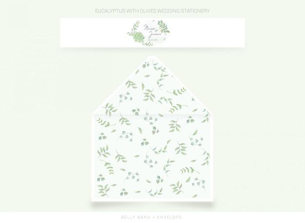 Fascia per la pancia, modello di busta con foglie ad acquerello