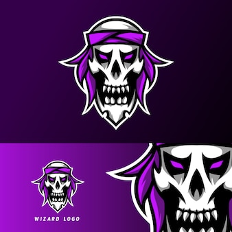 Fascia per teschio ribelle pirata sport esport logo modello design