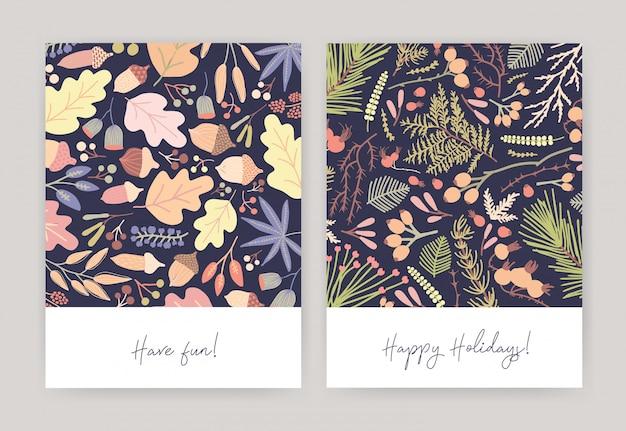 Fascio di biglietti di auguri stagionali con foglie cadute d'autunno, ghiande, rami di conifere, bacche, aghi di abete