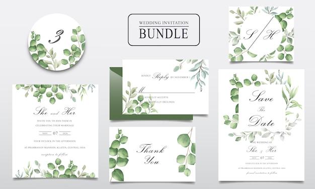 Fascio di carte di invito matrimonio verde con foglie di acquerello