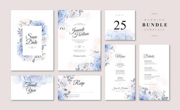 Fascio di carte di nozze con aquarel di peonia