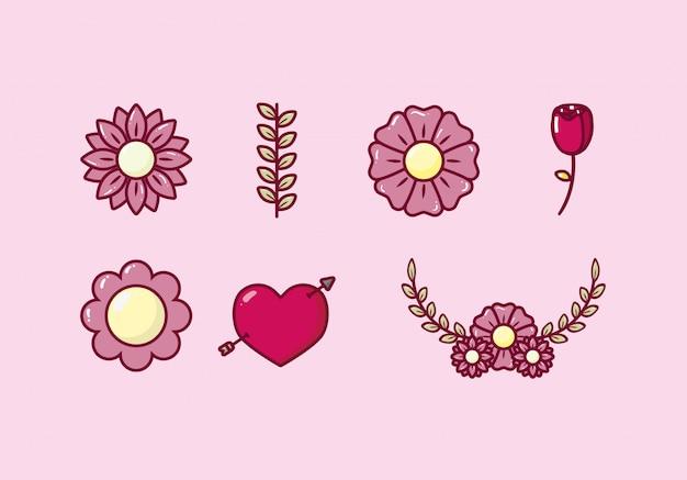 Fascio di cuori e fiori di san valentino
