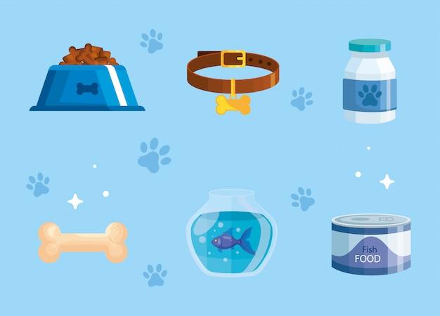 Fascio di elementi del negozio di animali