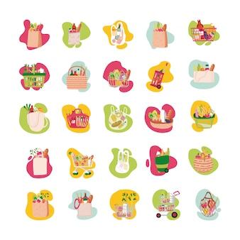 Fascio di generi alimentari set di icone