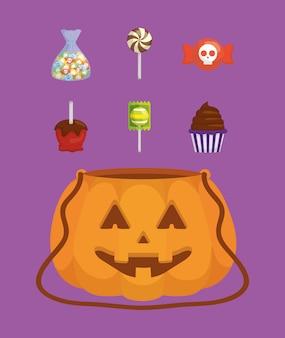 Fascio di halloween imposta icone di caramelle