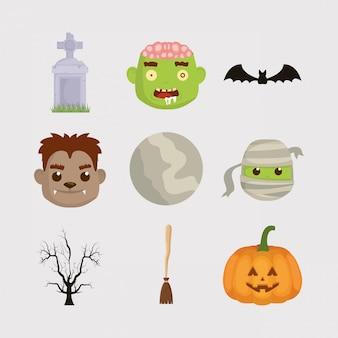Fascio di halloween imposta icone personaggi