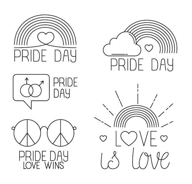 Fascio di icone del giorno dell'orgoglio, stile linea