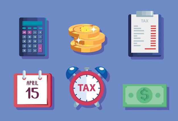 Fascio di icone del giorno delle tasse