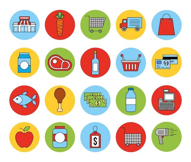 Fascio di icone del mercato di generi alimentari