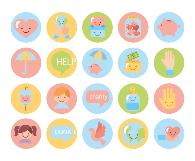 Fascio di icone della campagna di beneficenza