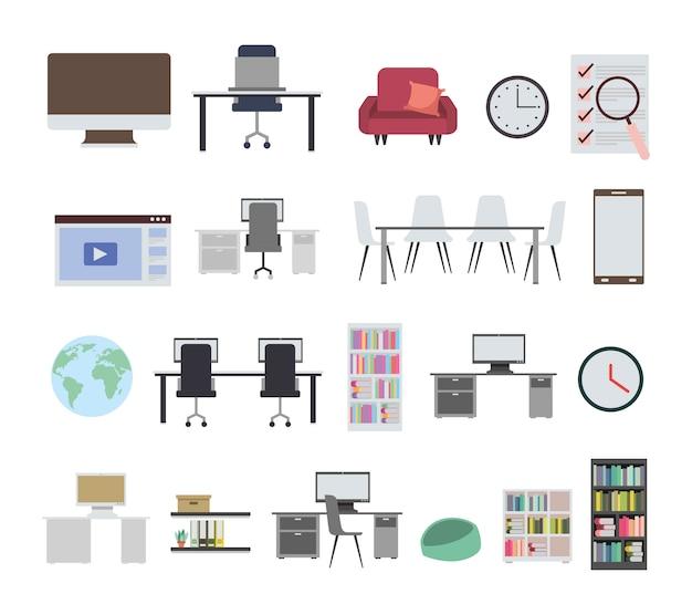 Fascio di icone di apparecchiature per ufficio