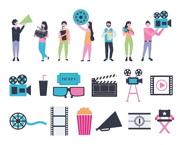 Fascio di icone di intrattenimento persone e cinema