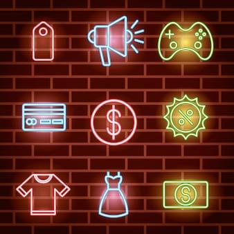 Fascio di icone di luci al neon