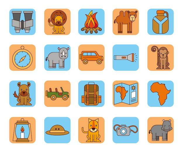 Fascio di icone di safari africano