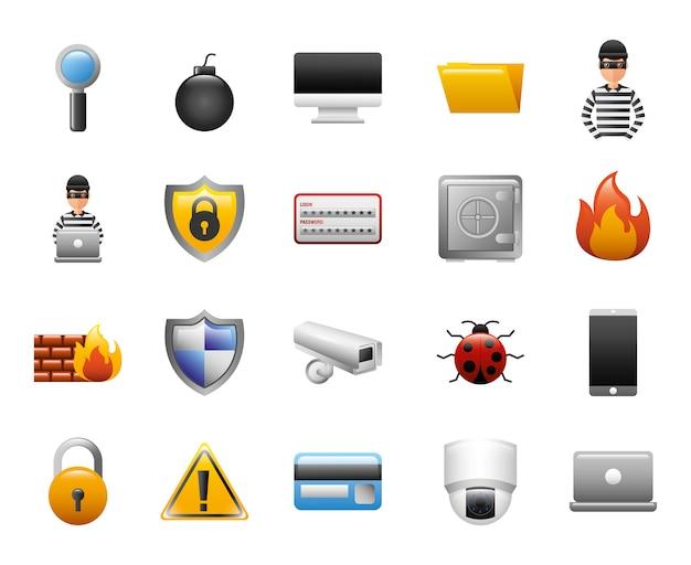 Fascio di icone di sicurezza informatica