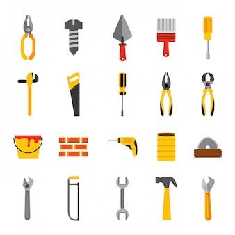 Fascio di icone di strumenti di costruzione