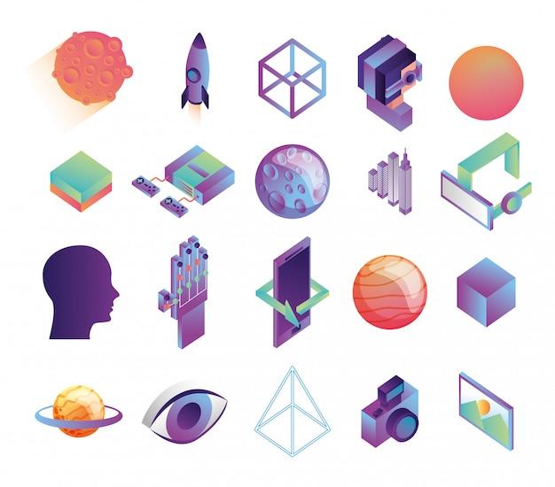 Fascio di icone di tecnologia di realtà virtuale