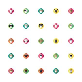 Fascio di icone di teste di cani svegli