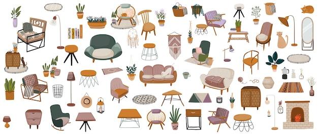 Fascio di mobili moderni eleganti e confortevoli, arredi e decorazioni interne per la casa di stile scandinavo o hygge alla moda isolato su sfondo bianco