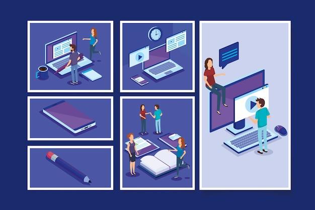 Fascio di persone e attrezzature per ufficio
