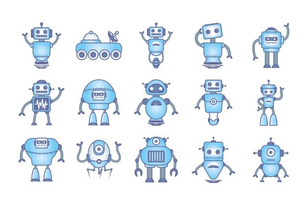 Fascio di robot set icone cyborg