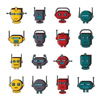 Fascio di robot teste tecnologia imposta icone