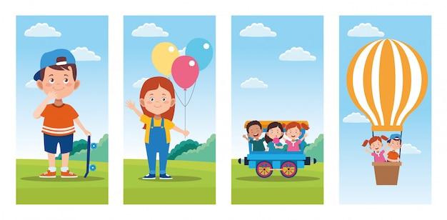Fascio di scene di celebrazione del giorno dei bambini felici