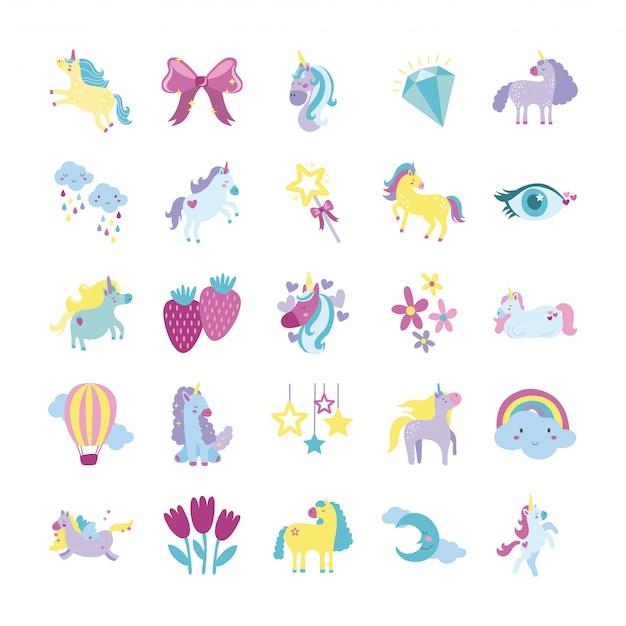 Fascio di set di icone di unicorno da favola
