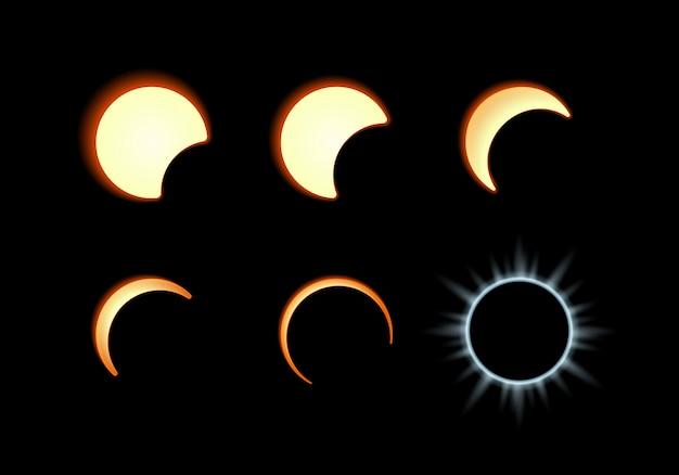 Fase dell'eclissi solare. la luna copre il disco solare