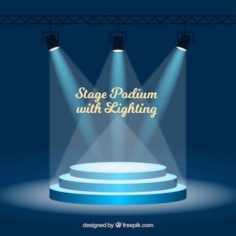 Fase di sfondo del podio con illuminazione