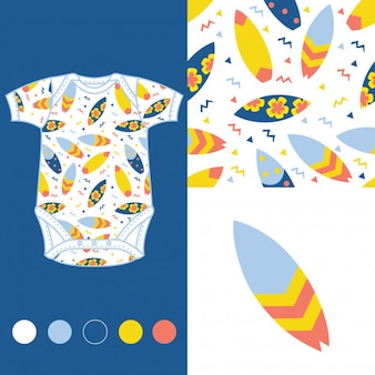 Fashion design set per baby wear con tavole da surf
