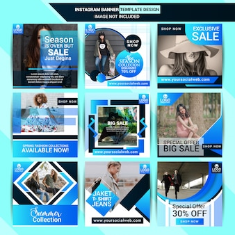 Fashion post design di instagram con sfondo blu
