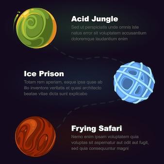 Fasi del gioco, grafica per i giochi. illustrazione di elementi di colore vettoriale