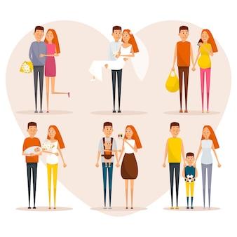 Fasi del manifesto del concetto di vita familiare. personaggi dei cartoni animati di vettore in stile piatto design.