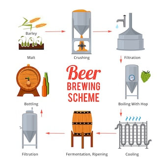Fasi della produzione di birra simboli vettoriali del birrificio. birra, produzione scenica e produzione di illustrazione