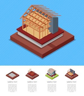 Fasi di costruzione del modello di casa di campagna