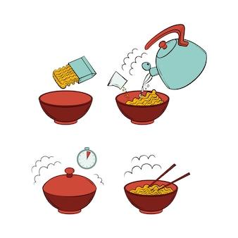 Fasi di preparazione di noodles vettoriali