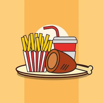 Fast food coscia di pollo patatine fritte e soda