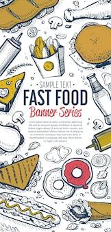 Fast food doodles menu banner verticale