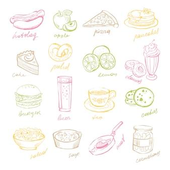 Fast food e frutta disegnati a mano.