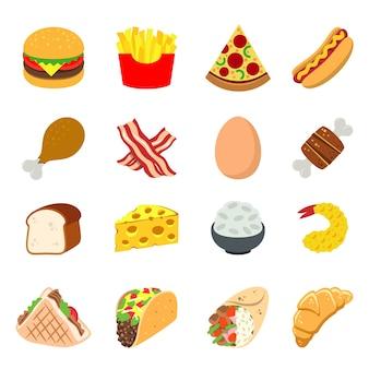 Fast food eat cook colazione pranzo cena vector