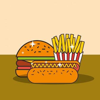 Fast food hamburger hot dog e patatine fritte